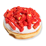 An image of our Flaming Redhead donut - Pinkbox Doughnuts®